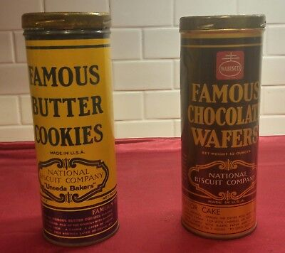 Vintage Nabisco Famous Chocolate  and Butter Cookie Wafers Metal Tins