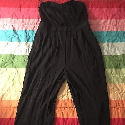 Forever 21 Plus Solid Black Keyhole Strapless Jumpsuit Size 1X A185