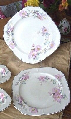 """Edwin M. Knowles, pink floral, silver trim plates, 9"""" square, 2, + matching bowl"""