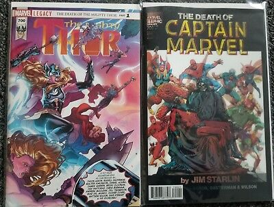 Thor #700 Death Of Captain Marvel Legacy Reg + 3D Lenticular Starlin Variant Set