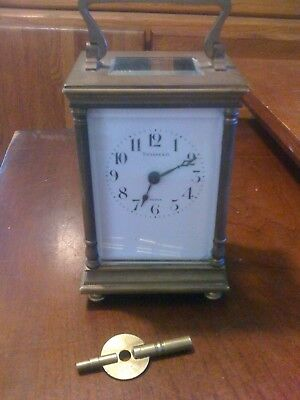 Antique TIFFANY French Carriage Mantel Shelf Desk Clock 11 jewel 1900s