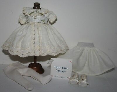 """8"""" MA MADAME ALEXANDER Embroidered Cream Outfit tagged PARTY TIME VINTAGE"""