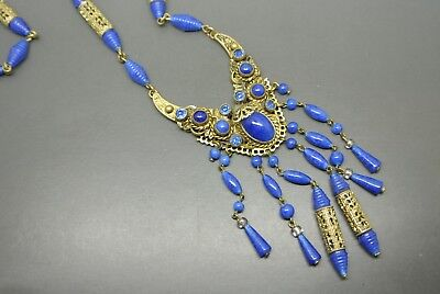 Vintage Czech Art Deco Neiger lapis  blue glass tassel pendant filigree necklace