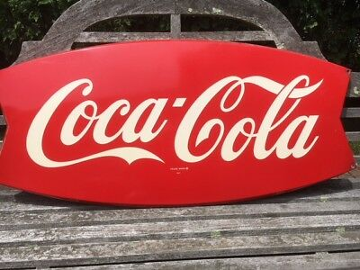 "Vintage Large  42"" X 20"" Coca Cola Fish Tail Sign Circa 1963"
