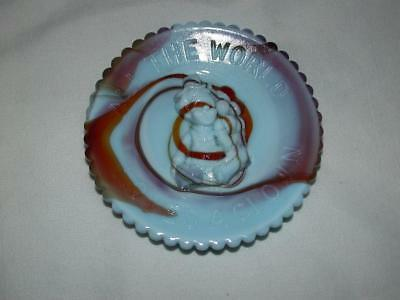 "Mosser Glass Clown Cup Plate 3.5"" Blue/brown Slag ""all The World Loves A Clown"""