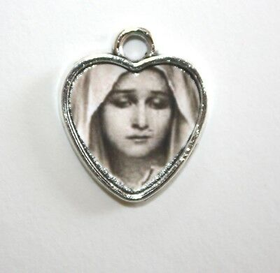 Sorrowful Mother Mary | Silver Heart Rosary Charm Medal| Add to Rosary, Bracelet