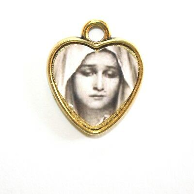 Sorrowful Mother Mary Goldtone Heart Rosary Charm Medal Add to Rosary, Bracelet