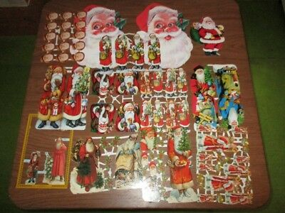 Lot of Paper Scraps Cutouts Vintage Style Lithographed Santa Father Christmas