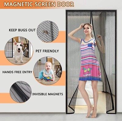 Magnetic Screen Door 39x 83 Heavy Duty Reinforced Mesh Curtain Full Frame Fits