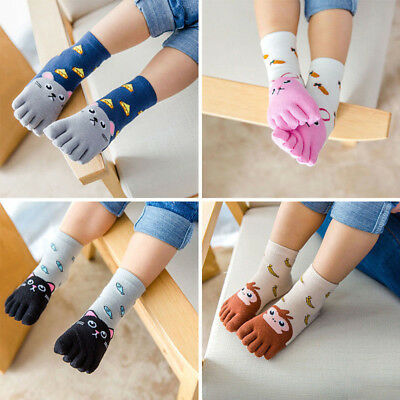 Soft Toddler Baby Kids Girls Boys Cartoon Animal Five Fingers Hosiery Toe Socks