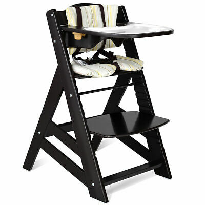 Baby Toddler Wooden Highchair Dining Chair Adjustable Height w/ Removeable Tray