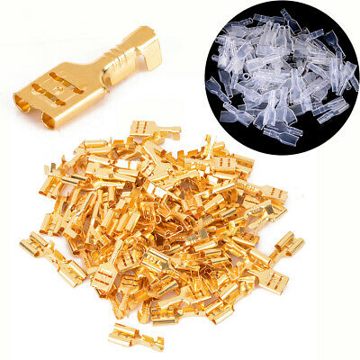 100pcs 6.3mm Brass Female Spade Crimp Terminal Connectors with Insulating Sleeve