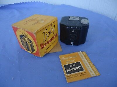 vintage art deco kodak baby brownie camera bakelite instructions box