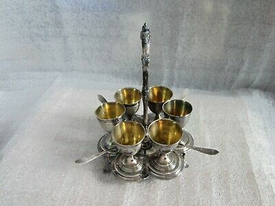 Rare Antique Christofle Malmaison France Silver Plated 6 Cup Egg Cruet W/ Stand