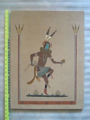 Beautiful Vintage Original Navajo Yei Bai Chai Clown Dancer Sand Painting Signed