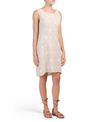 ed97ec5945 FRANCESCA BETTINI Beige Linen Embroidered Dot Dress Sz M NWT Made In Italy