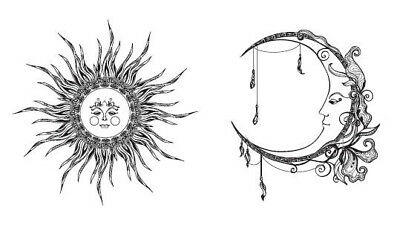 Waterproof Temporary Fake Tattoo Stickers Grey Sun Moon Vintage