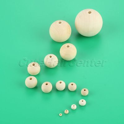 1 Set 4mm-50mm Round Natural Wooden Beads Polish for Fun DIY Crafting Birthday