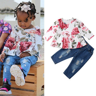 USA Toddler Kids Baby Girl Outfit Clothes Long Sleeve T Shirt Tops + Jeans Pants