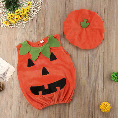 AU Cosplay Halloween Baby Kid Pumpkin Suit Top Blouse Dress+Hat Clothes Costumes