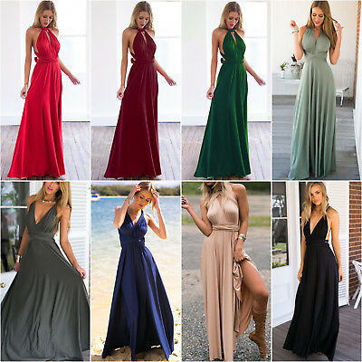 Women Summer Long Dress Convertible Multi Way Wrap Bridesmaid Evening Dresses