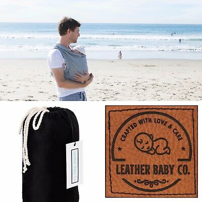 Wrap/Sling Baby Carrier by LeatherBabyCo Organic Cotton BLACK FREE AUS POST