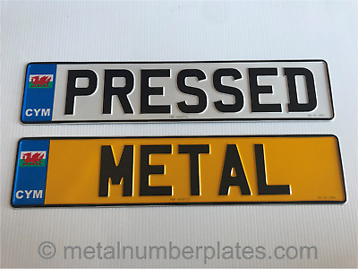 Pressed Metal Number Plates - Pair of Wales CYM