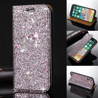 Luxury Bling Sparkly Flip Leather Wallet Case Magnetic Stand For Samsung iPhone