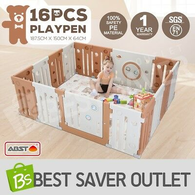 16 Panel Interactive Baby Playpen Kids Toddler Plastic Gate Safety Lock Divider
