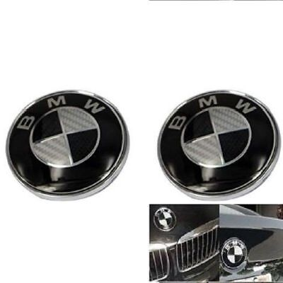 2pcs Replacement Carbon BMW Emblem 82/74mm For Front Hood Back Trunk logo Badge