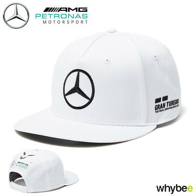 2018 Lewis Hamilton Official Flatbrim Cap WHITE Adult One Size Mercedes-AMG F1