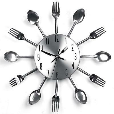 NEW Cutlery Fork Kitchen Tableware Wall Pointer Analog Clock Home Decoration HQ