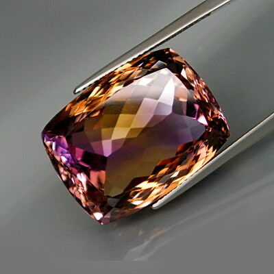 34.75Ct.Real! Natural GIANT Purple&Golden Bolivia Ametrine Full Spark&Eye Clean!