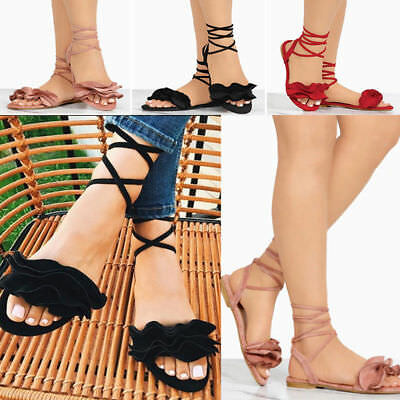 d6c11d68ce7a Elegant Women Gladiator Sandals Lace Up Flat With Heels Shoes Ankle Strap  Summer