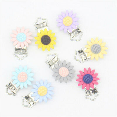 Sunflower Pacifier Clip Silicone Bead Baby Teether Teething Accessories Clip 2X