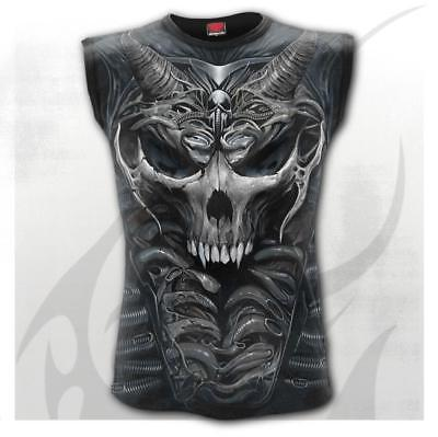 Gothic Biker Rock Metal Skull Armour Style 3D Graphic Sleeveless T-shirt