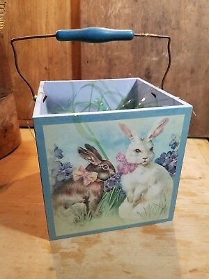 Adorable Vintage Late 1900's Easter Box W Bail Handle Victorian Images Bunnies