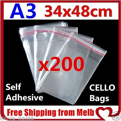200x A3 Cello Bag 34x48cm Cellophane Clear Resealable Plastic Self Seal Adhesive
