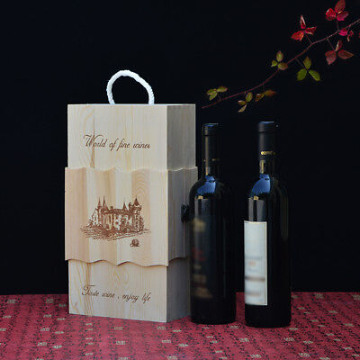 Handmade Wooden Wine Pine Double Bottle Case Storage Boxes Craft Gift