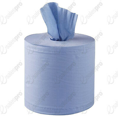 2ply BLUE ROLL - WIPES - CENTREFEED -130m LONG - 18cm WIDE - Multi Buy Deals