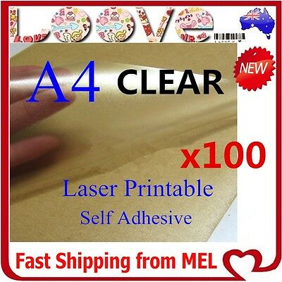 100 x A4 Clear Transparent Glossy Self Adhesive Sticker Paper Label Laser Print