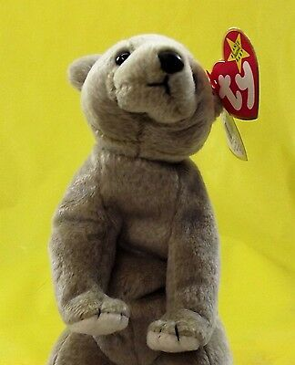 "TY Beanie Baby Almond Baby Bear Plush Brown Toy New with Tags Mint 6.5 "" Tall"