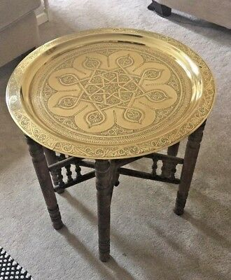 Moroccan/Indian Style Folding Table With Brass Metal Top Etched Good Condition