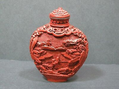 Antique Chinese Carved CINNABAR Snuff Perfume Bottle Red