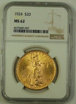 1924 US St. Gaudens $20 Double Eagle Gold Coin NGC MS-62 B