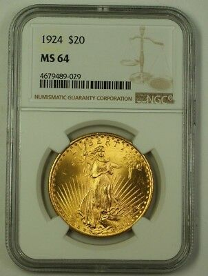 1924 US St. Gaudens $20 Double Eagle Gold Coin NGC MS-64 (Better) B