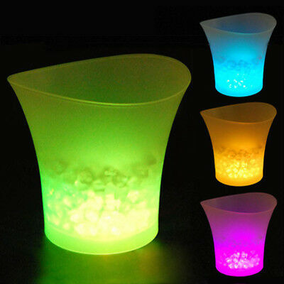 LED Ice Bucket Colour Changing Champagne Wine Bar Beer Drinks Cooler Party UK GL