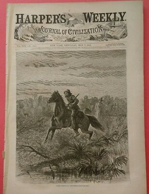 Harper's Weekly 5/7/1864 Civil War  Union Scouts in Louisiana    Slaves Escaping
