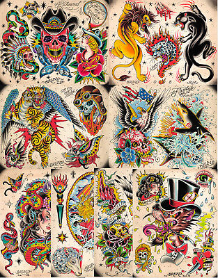 "Full Color Traditional Style Tattoo Flash 10 Sheets 11x14"" Skulls, Eagle, USA"