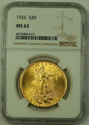 1926 US St. Gaudens Double Eagle $20 Gold Coin NGC MS-62 (Better)